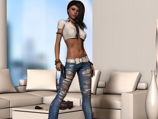 Рендеринг,  девушка,  джинсы,  поза