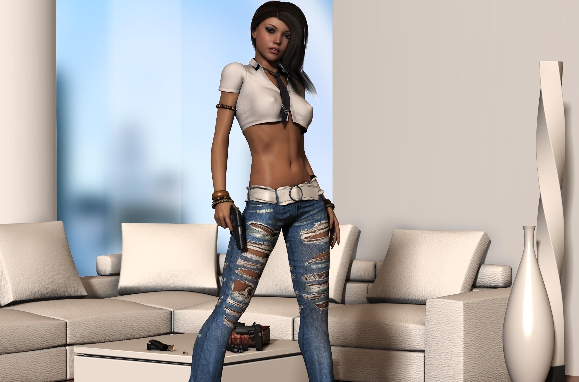 Рендеринг, девушка, джинсы, поза обои скачать