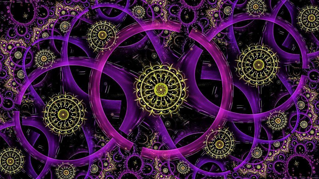 Фрактальные неоновые кольца абстрактные обои скачать