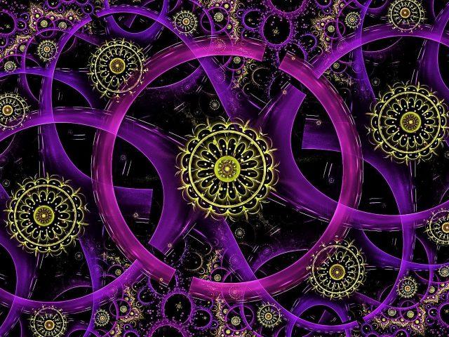 Фрактальные неоновые кольца абстрактные