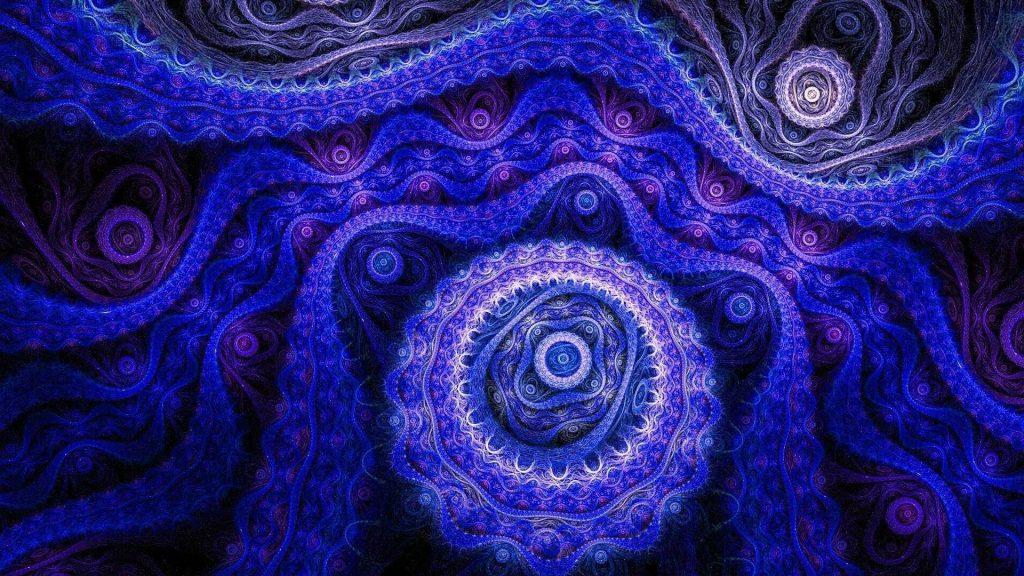 Темно-синий фрактальный арт-дизайн абстрактный обои скачать