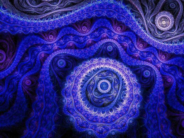 Темно-синий фрактальный арт-дизайн абстрактный