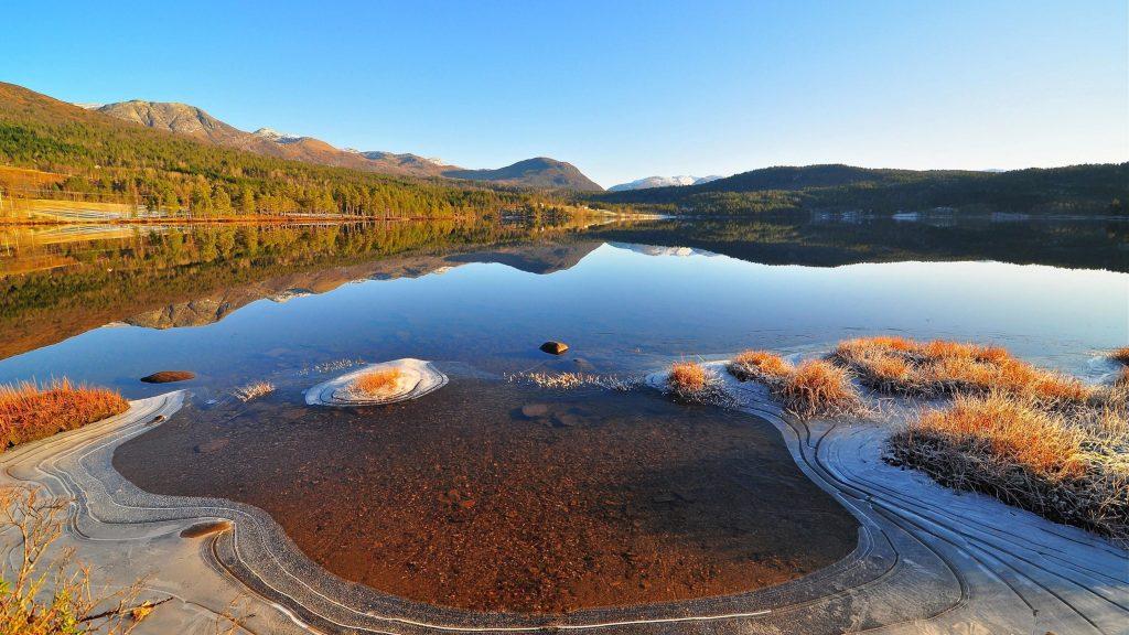 Спокойный водоем в окружении зеленых деревьев с отражением и пейзажным видом на горы под голубым небом природа обои скачать
