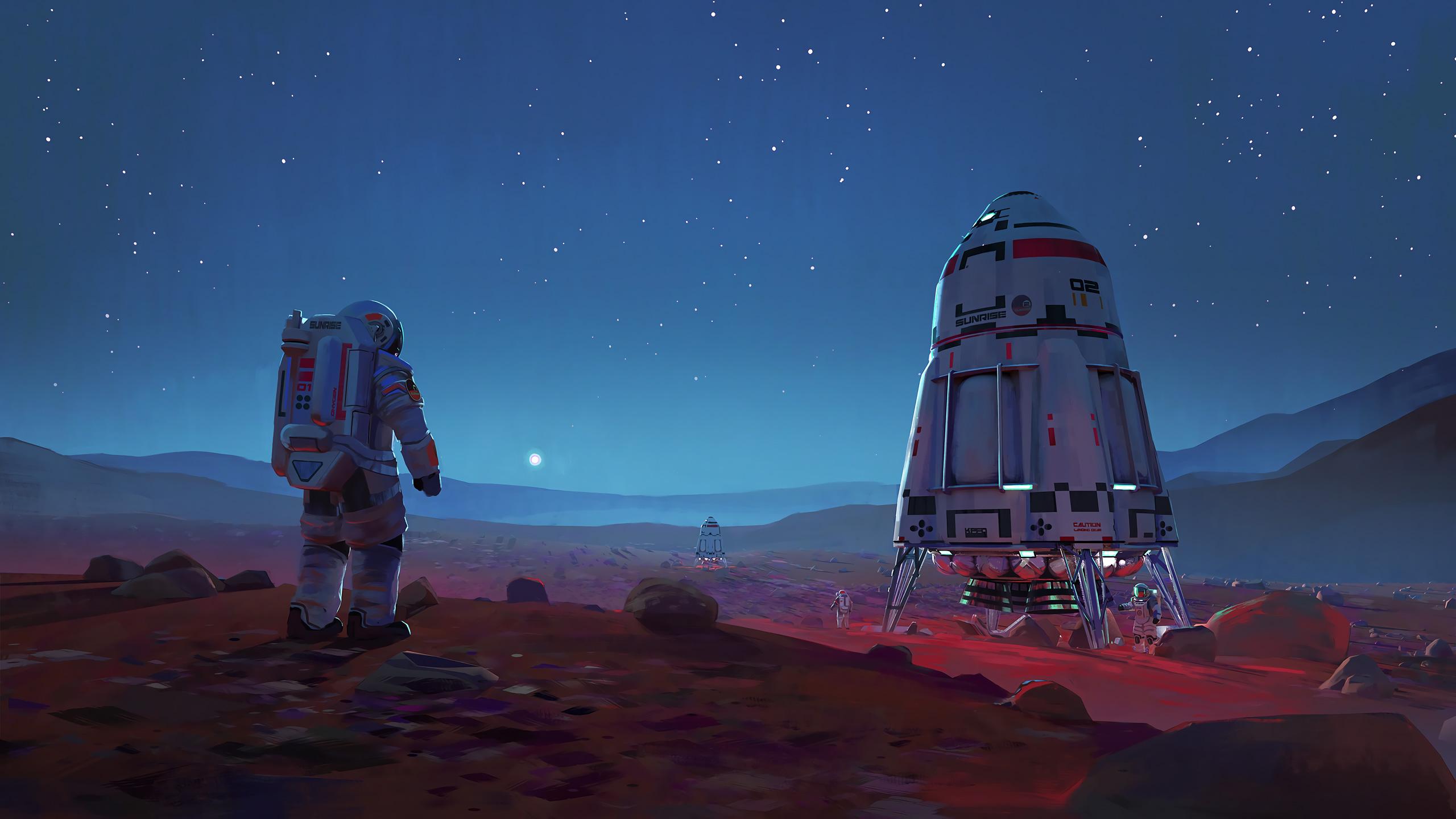 Астронавт Марс обои скачать