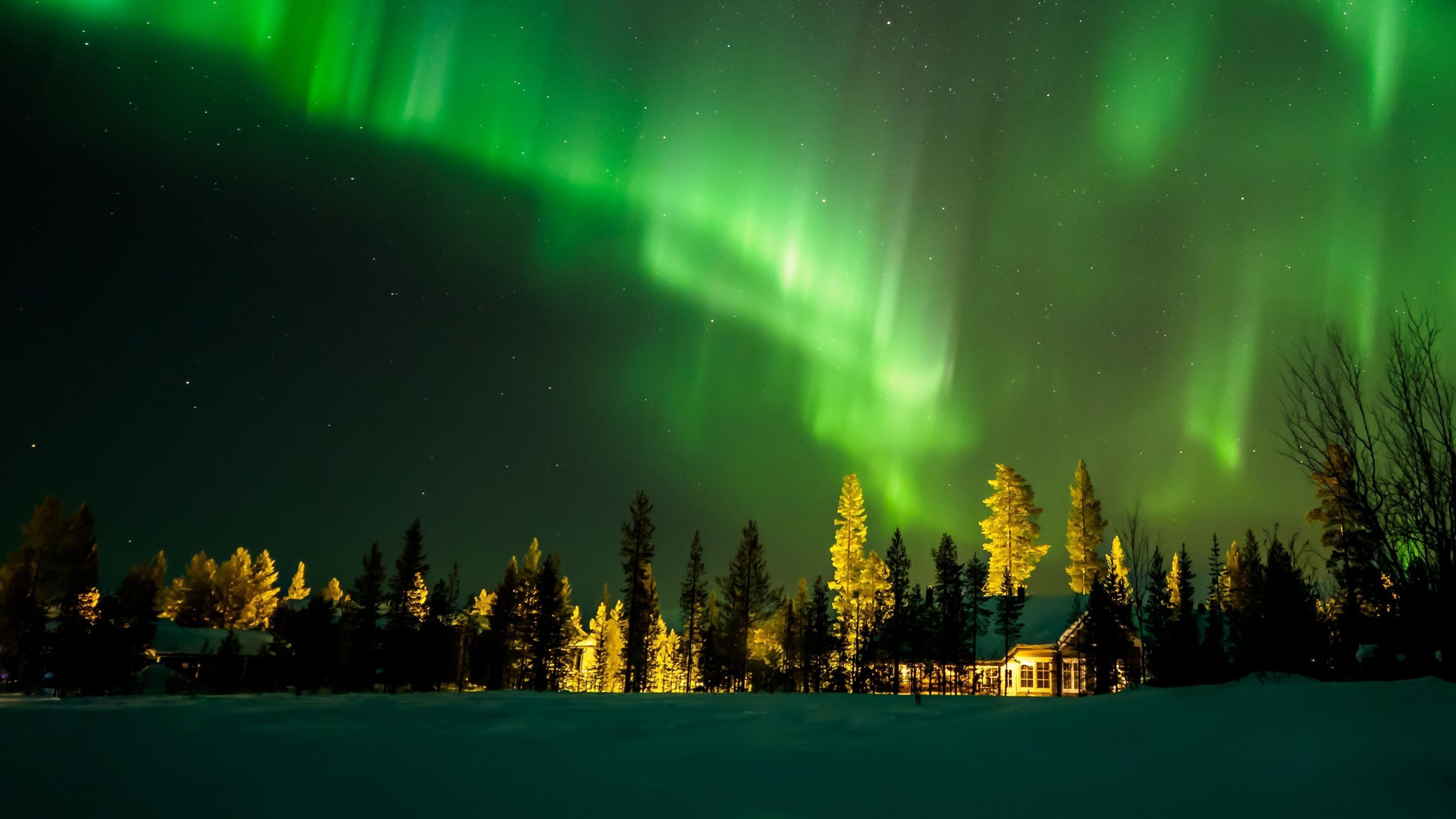 Северное сияние Финляндия обои скачать