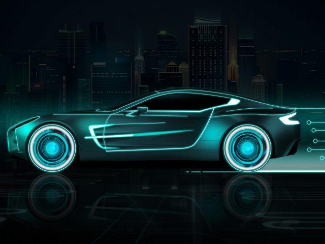 Неоновый спортивный автомобиль