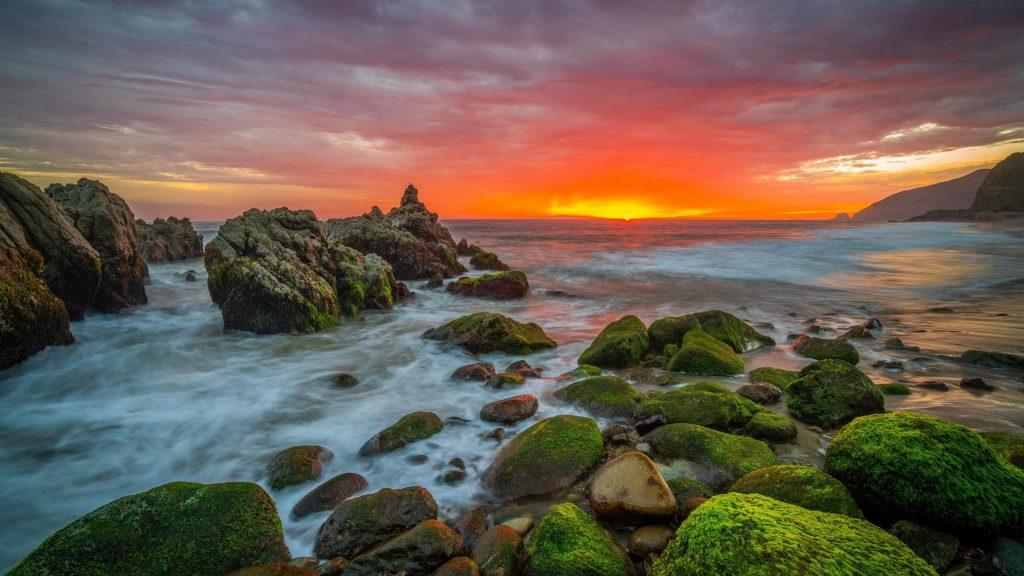 Зеленые водоросли покрыли скалы и пейзаж вид на восход солнца под желто-черным облачным небом природа обои скачать