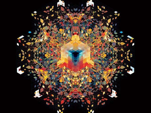 Красочный калейдоскоп абстракция черный фон абстракция
