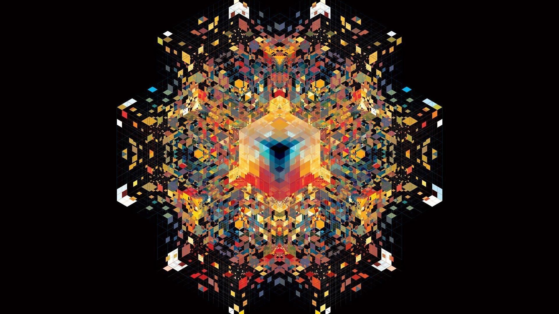 Красочный калейдоскоп абстракция черный фон абстракция обои скачать