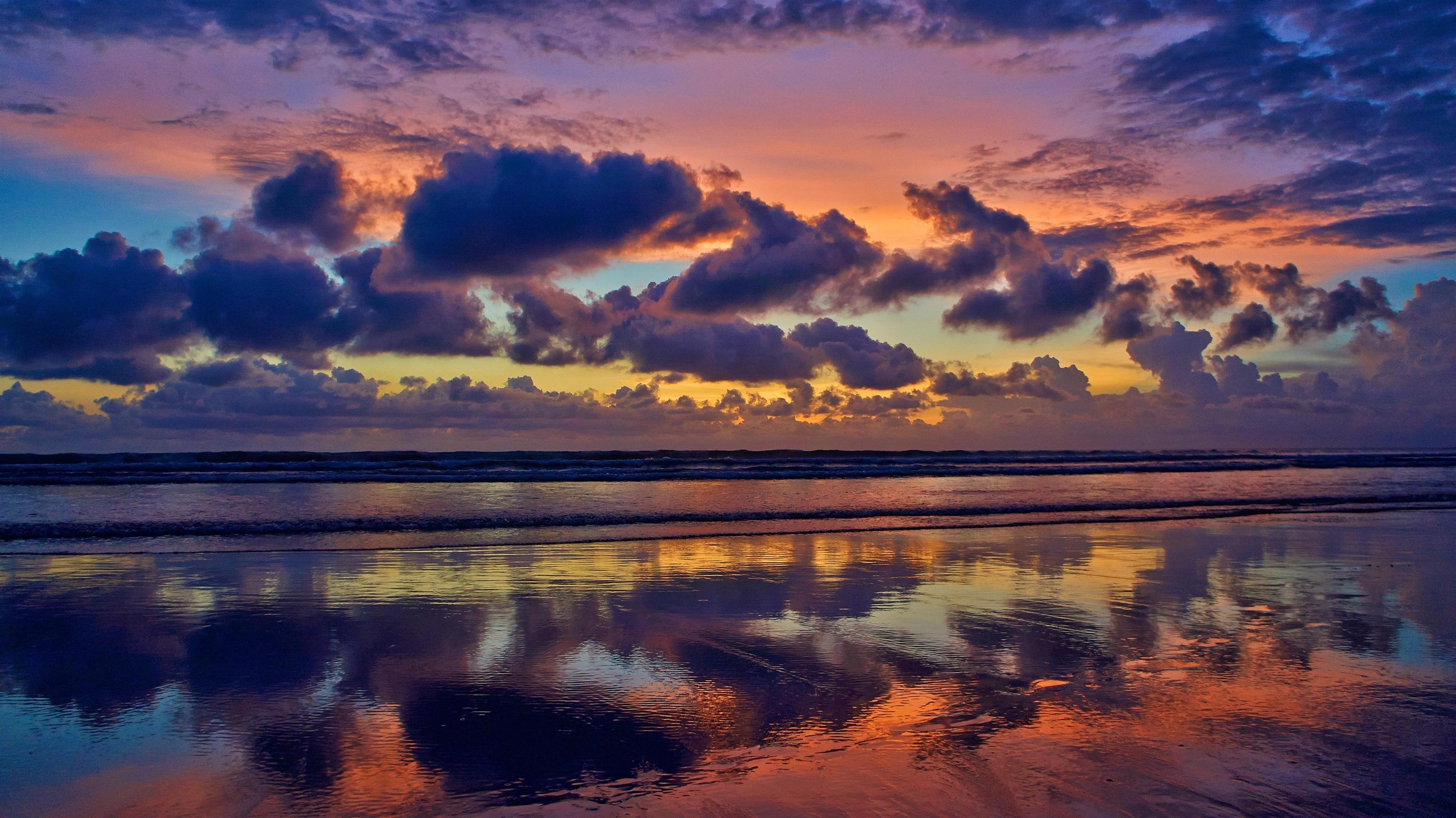 Облачный морской пейзаж вечер обои скачать