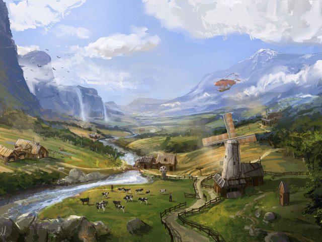 Арт,  Jonathan Powell,  пейзаж,  ферма