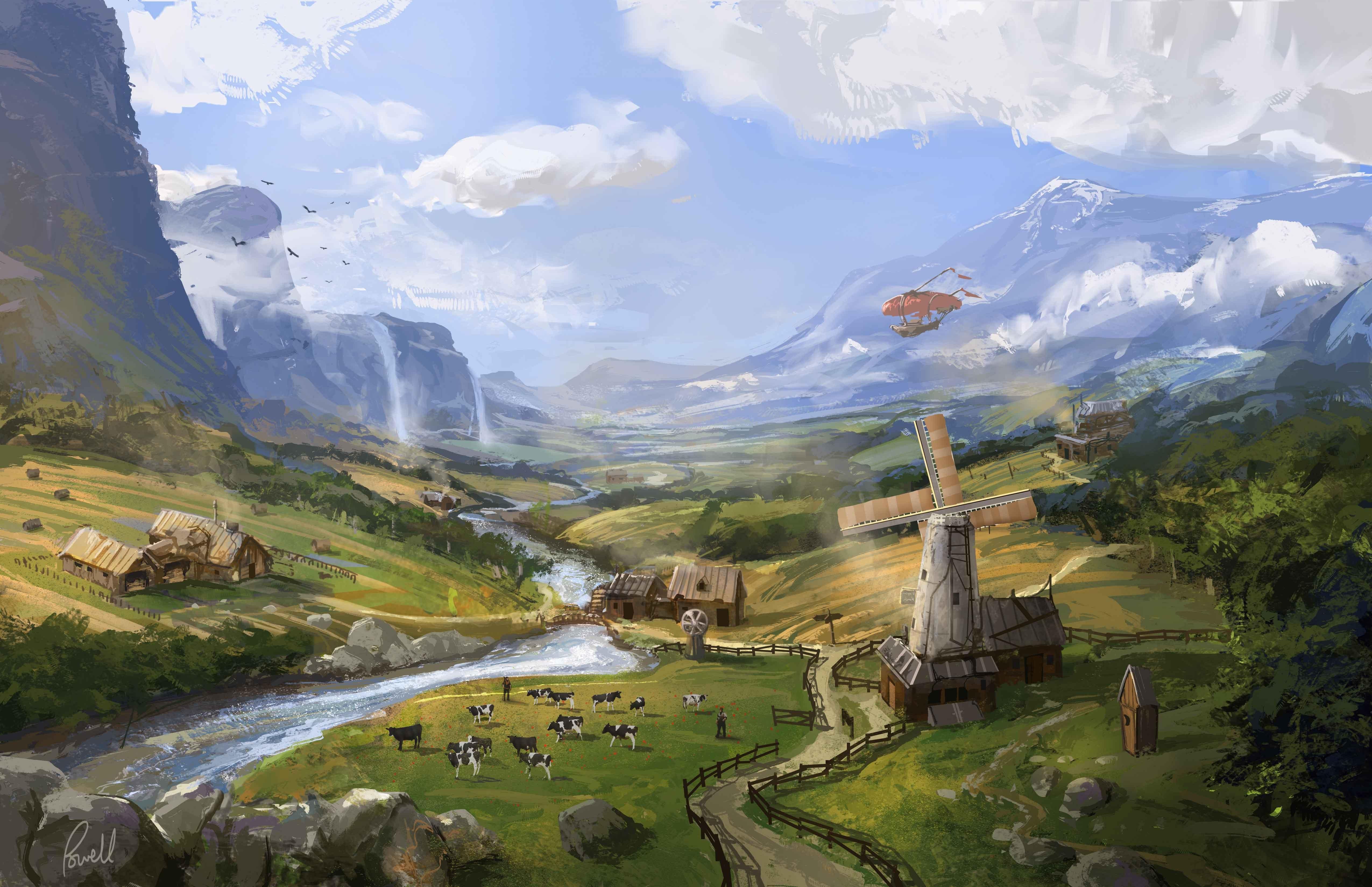 Арт, Jonathan Powell, пейзаж, ферма обои скачать