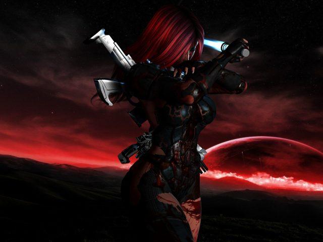 Девушка,  оружие,  костюм,  кровь