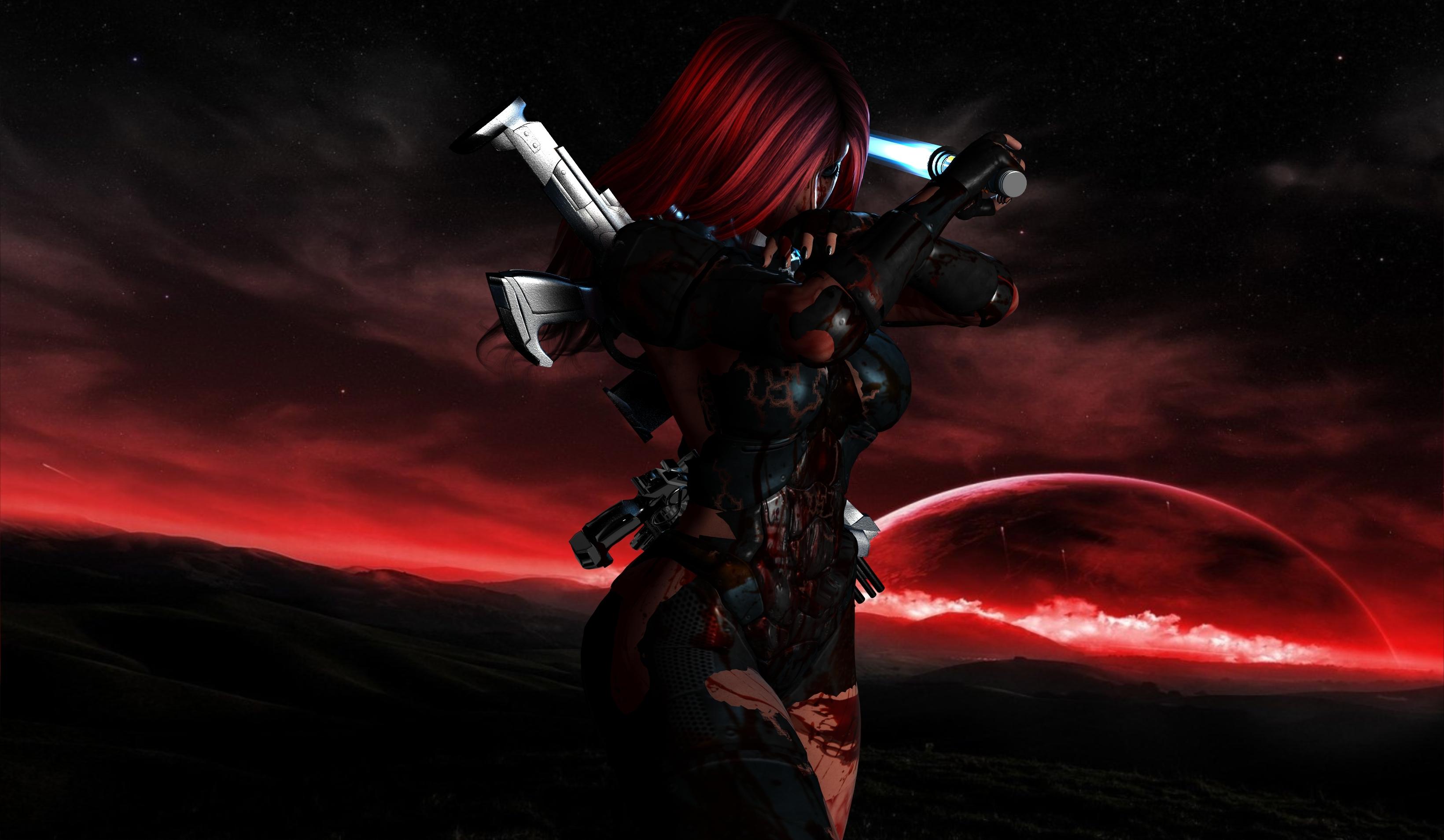 Девушка, оружие, костюм, кровь обои скачать