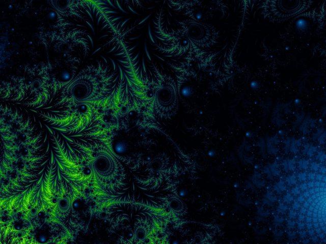 Зеленый синий запутанный фрактальный узор абстрактный