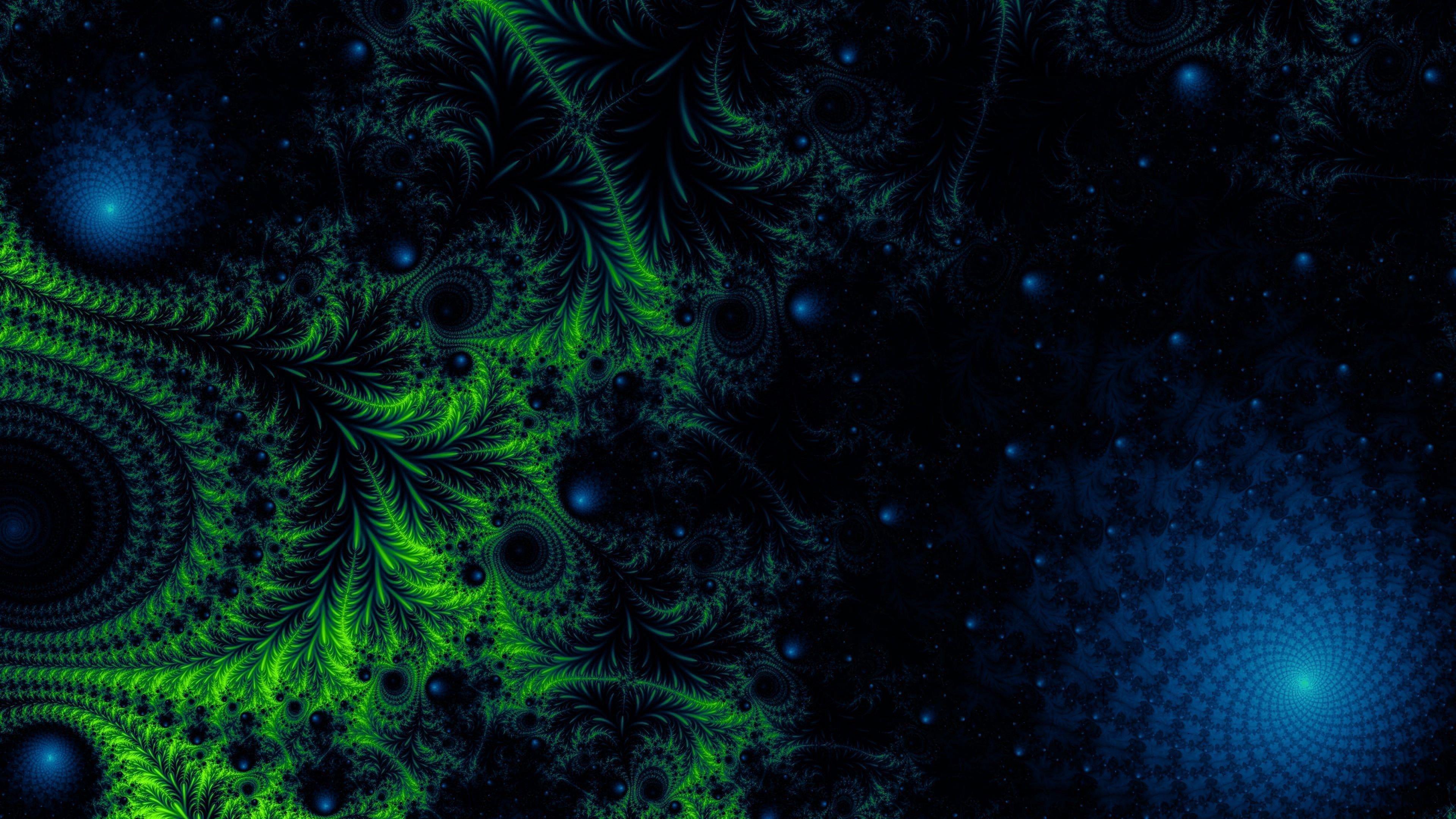Зеленый синий запутанный фрактальный узор абстрактный обои скачать