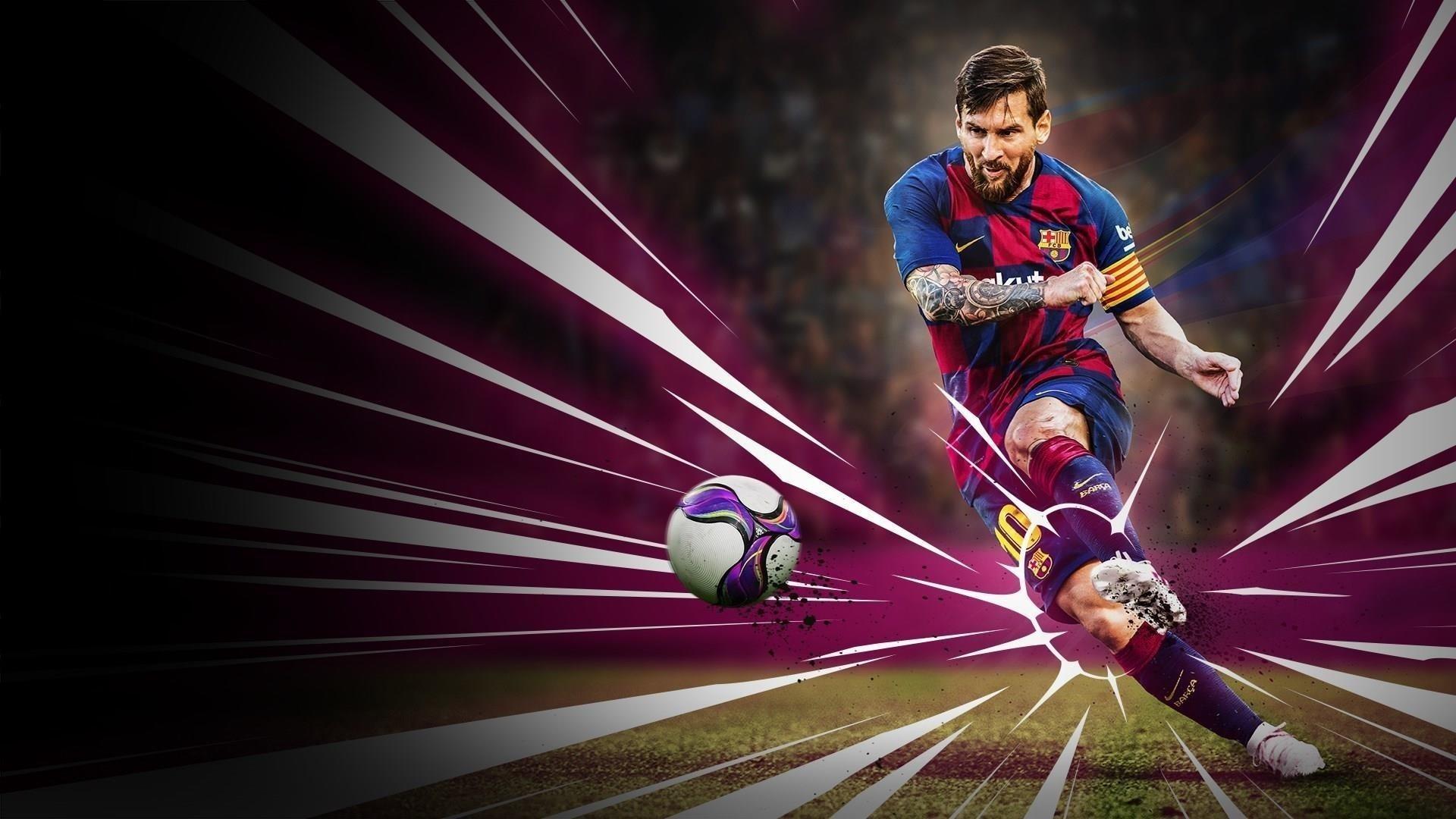 Лионель Месси футбол Pro Evolution футбол 2020 обои скачать