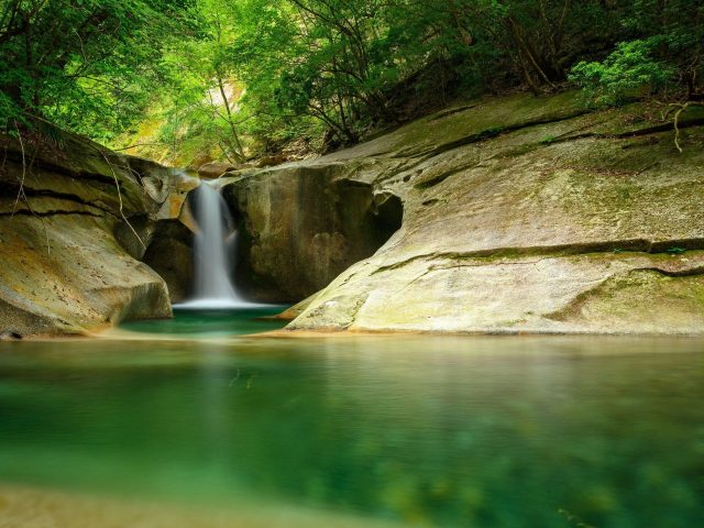 Водопад Утес камень вода деревья лес