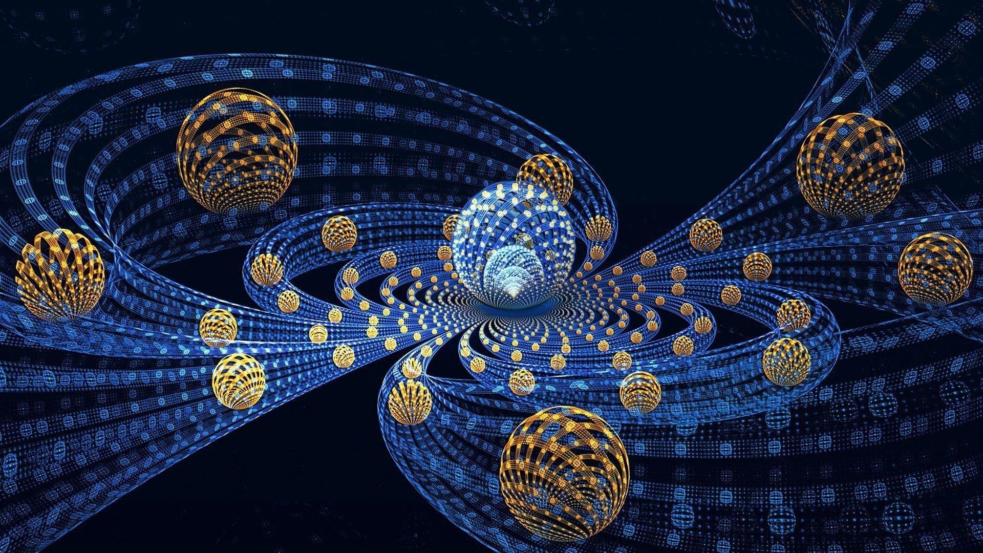 3D абстрактные фрактальные шары летают реферат обои скачать
