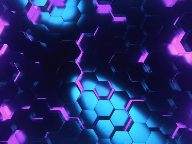 Розово-голубой шестиугольник абстрактный