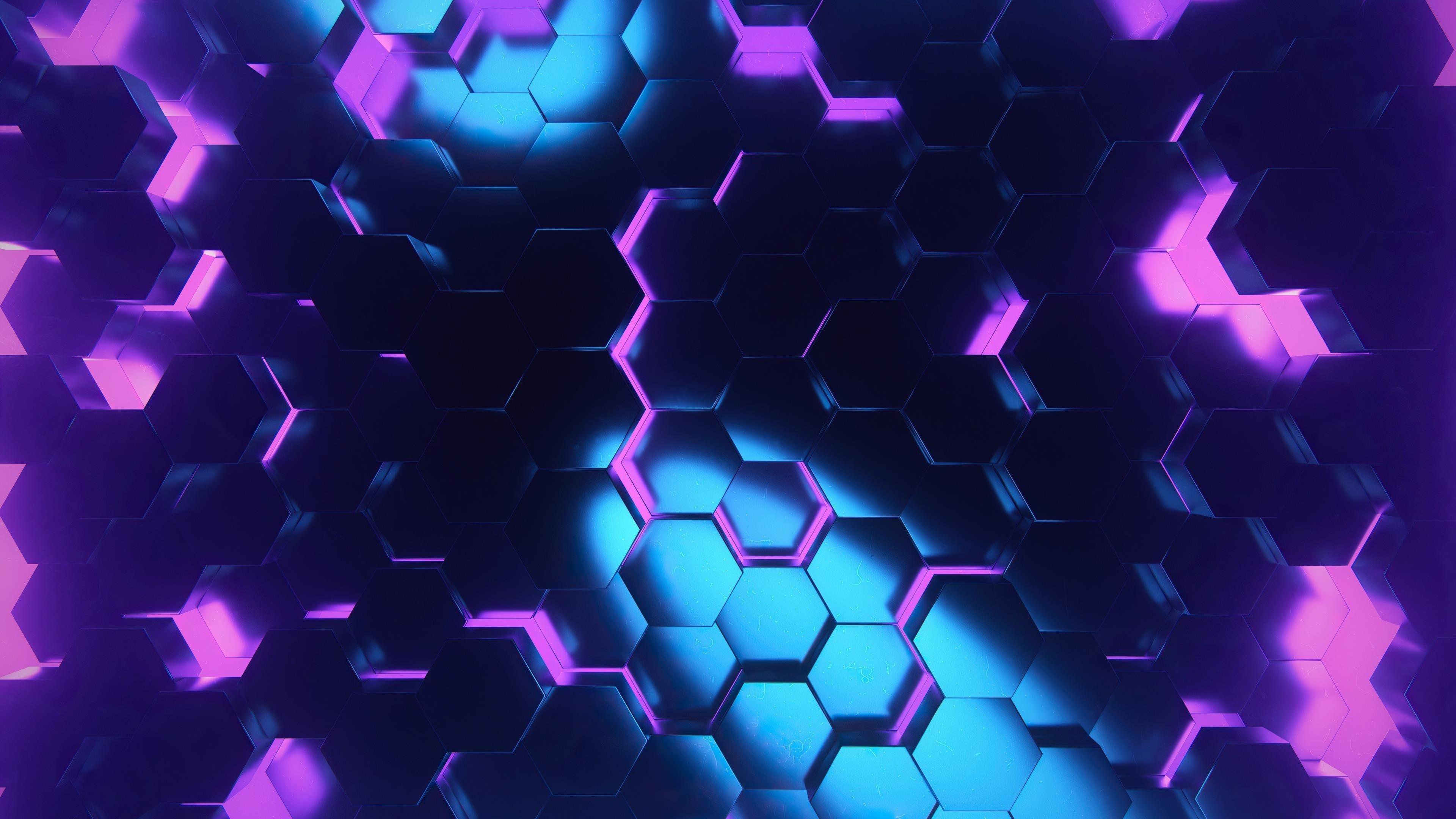 Розово-голубой шестиугольник абстрактный обои скачать