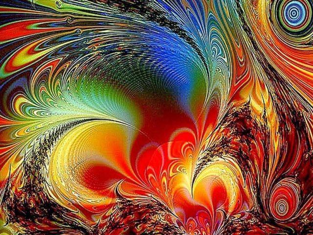 3d красочная темная фрактальная абстракция абстракция