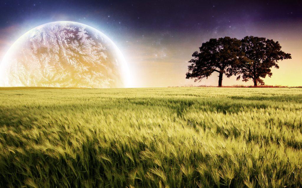 Планета фермы деревья пейзаж. обои скачать