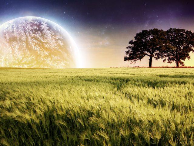 Планета фермы деревья пейзаж.