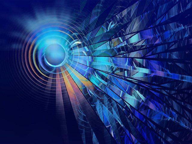 Синие и фиолетовые круги линии цифровое искусство абстракция