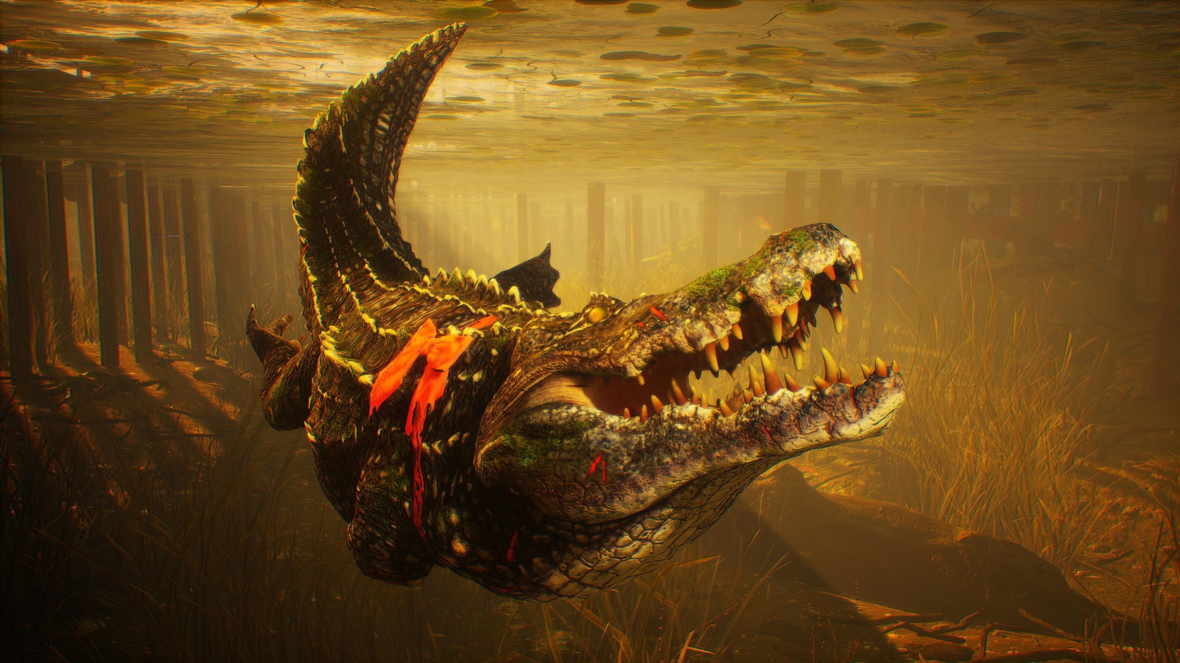 Людоед крокодил глубоководный обои скачать