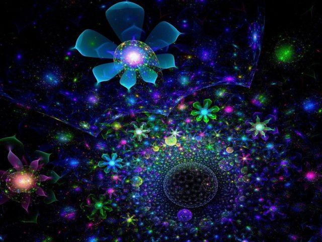 Синий, зеленый, цветы, фрактальные блестит аннотация