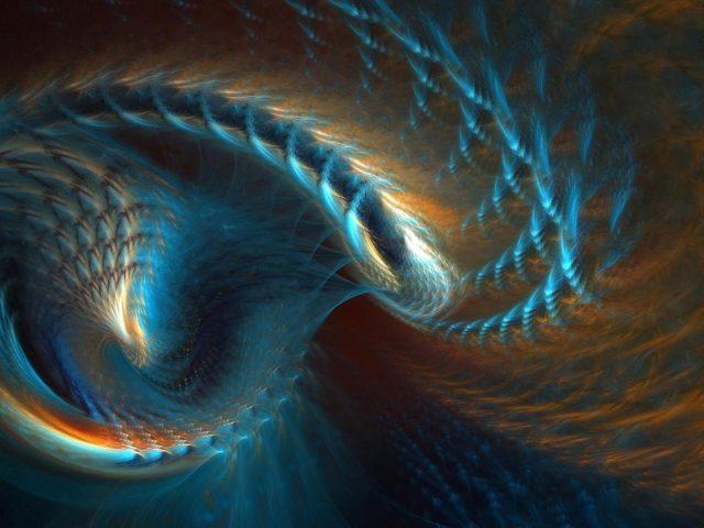 Эллипс желто-синий фрактал абстрактное искусство