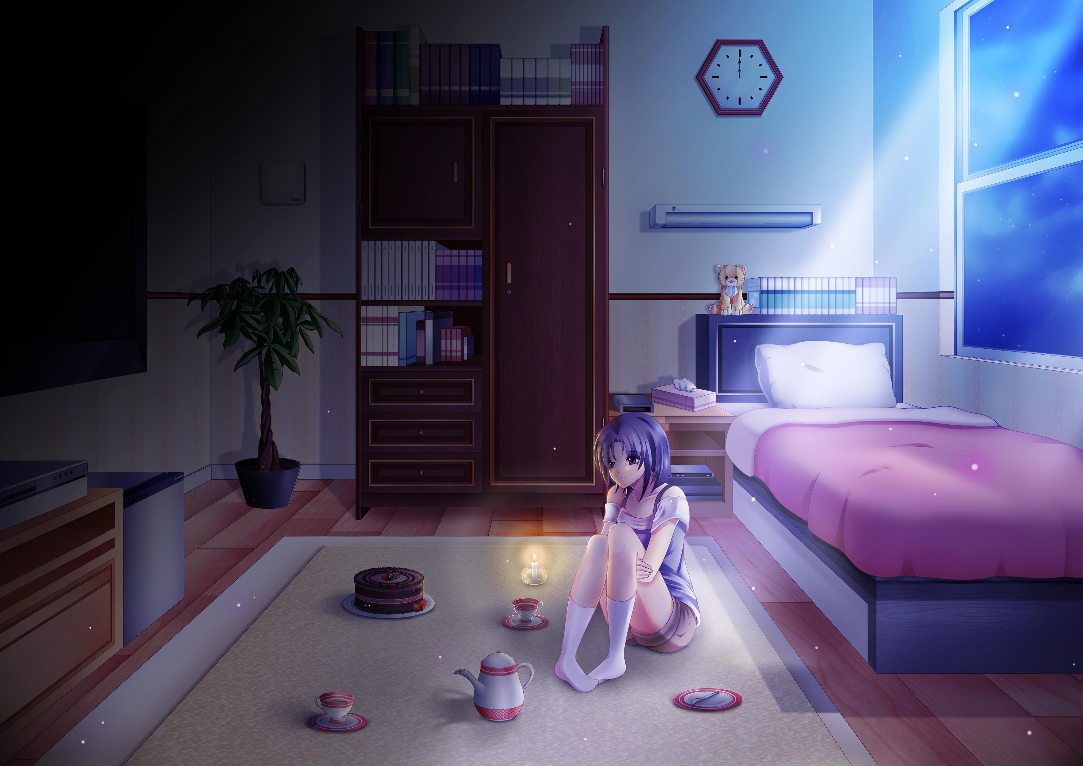 Lonely Night, аниме, девушка, кровать обои скачать