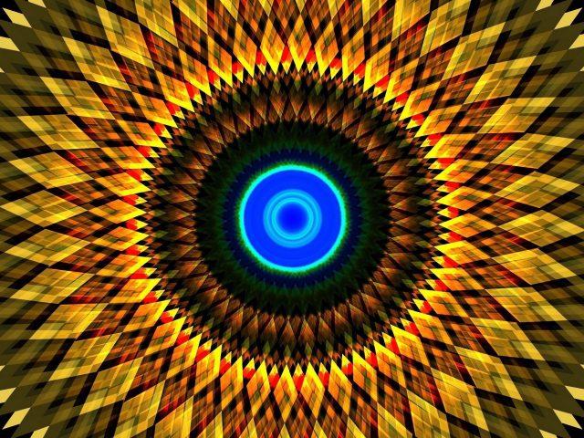 Желтый красный зеленый синий фрактальные круги абстрактные фигуры