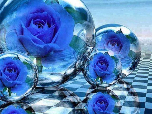 Синие пузыри цветы абстракция