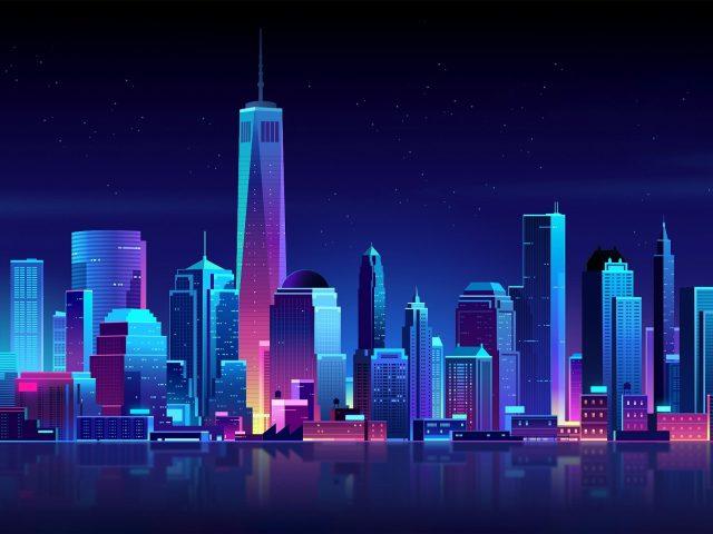 Неоновый городской пейзаж