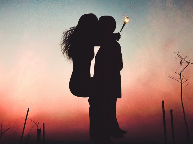 Пара поцелуй