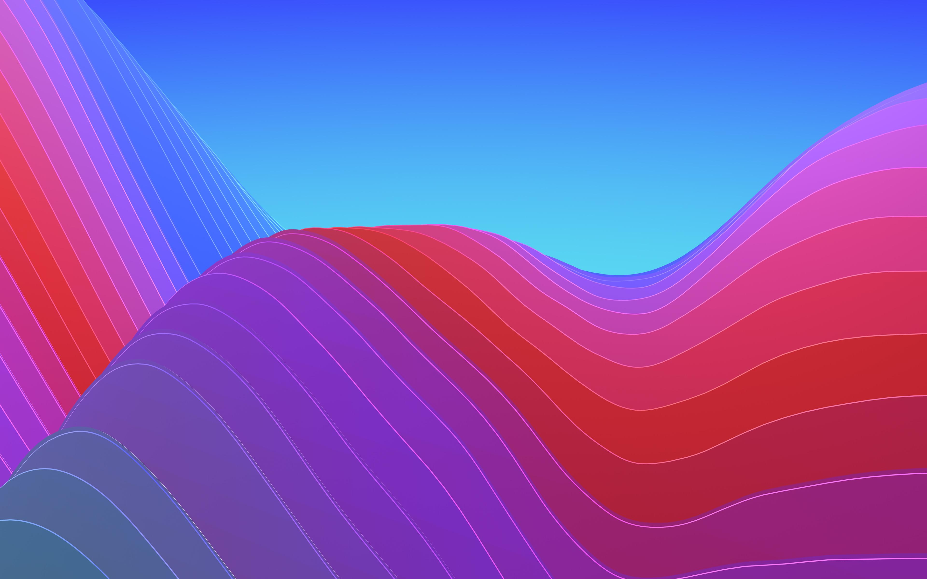 Абстрактные красочные волны обои скачать