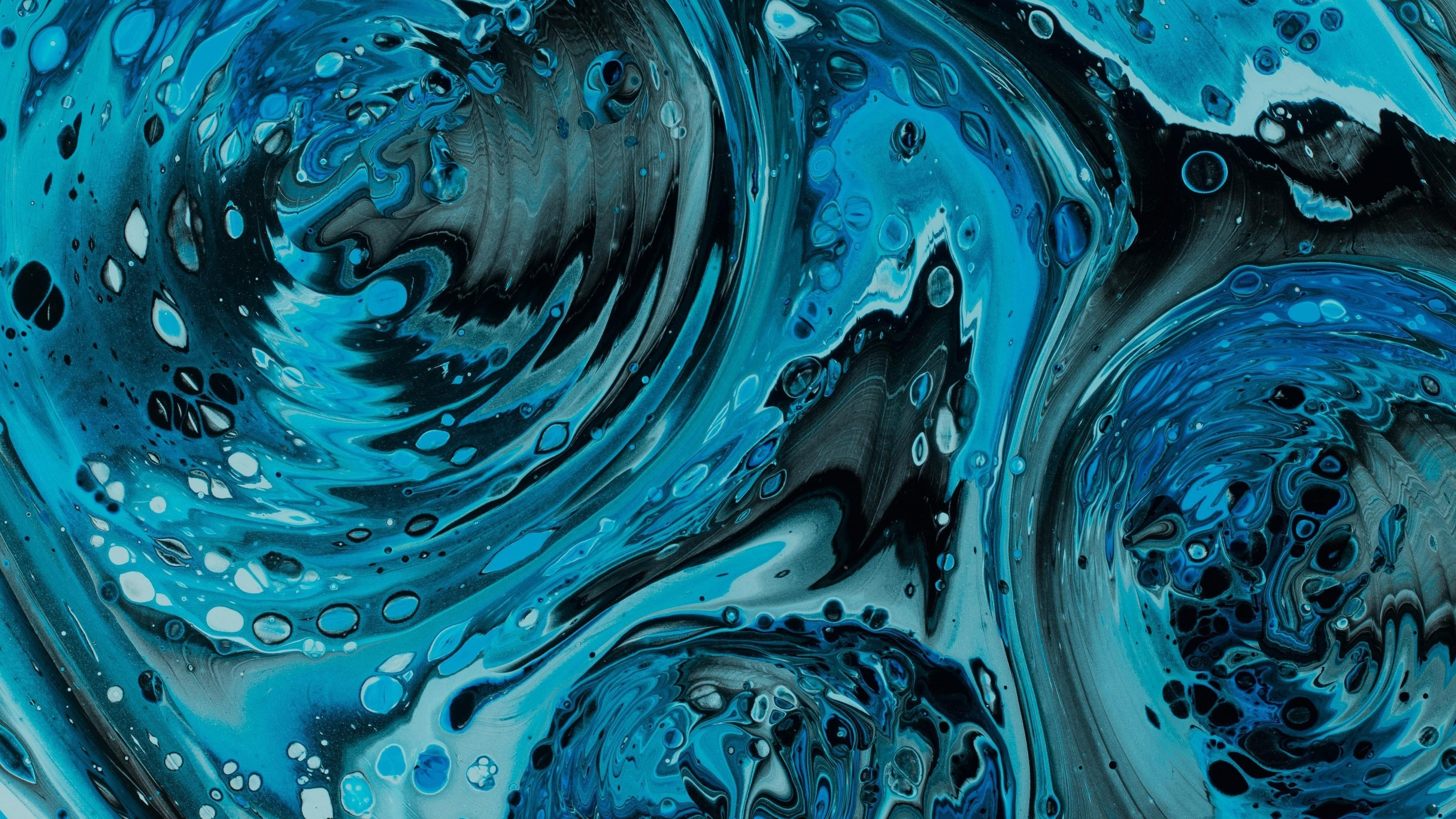 Жидкие флюидные художественные пятна искажение синяя краска абстракция обои скачать