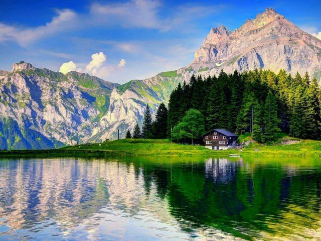 Зеленые деревья окруженные домом рядом с водоемом с отражением на фоне горной природы