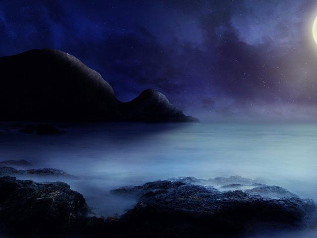 Морской пейзаж лунный свет