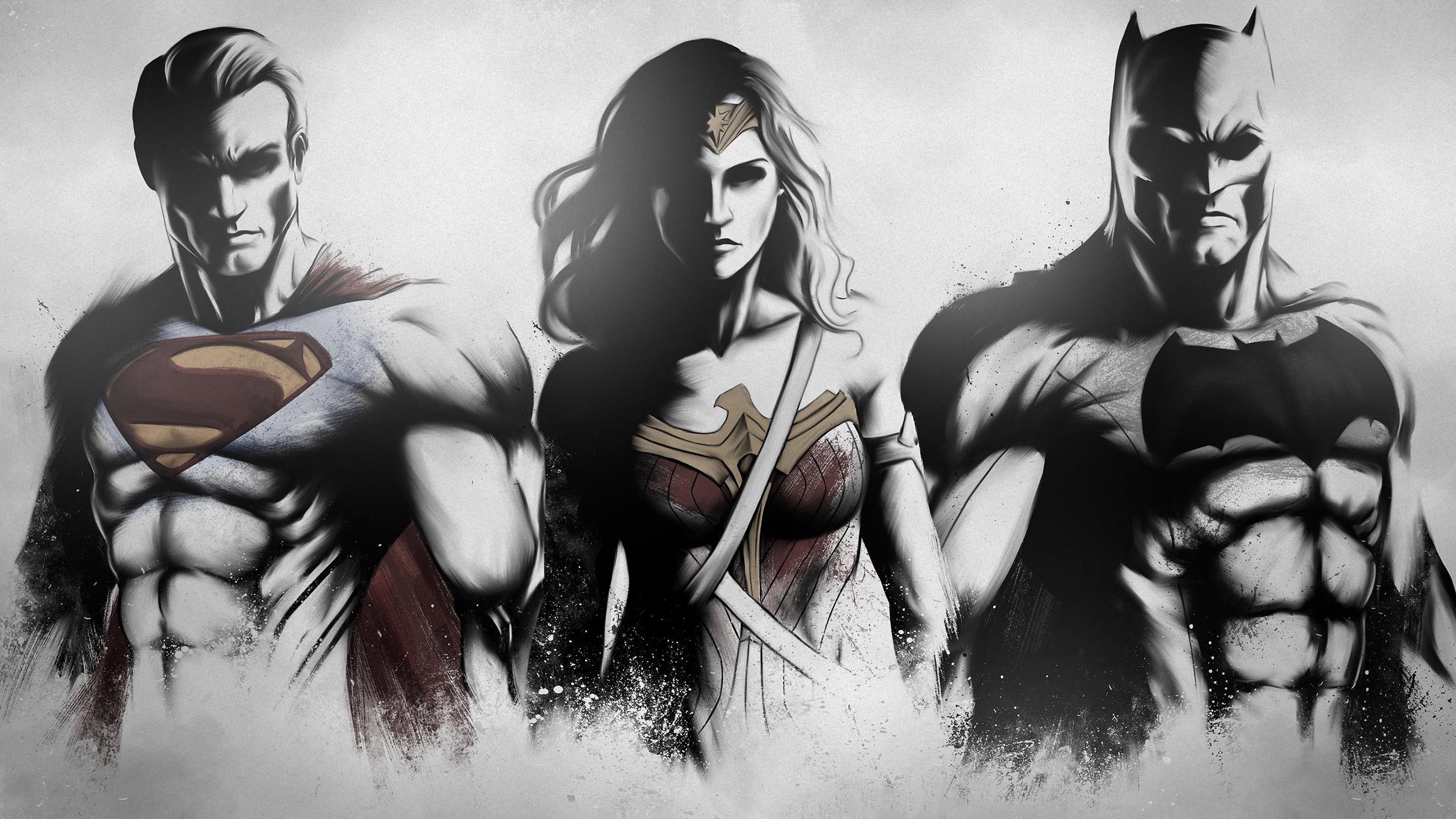Супермен чудо женщина Бэтмен фан-арт обои скачать