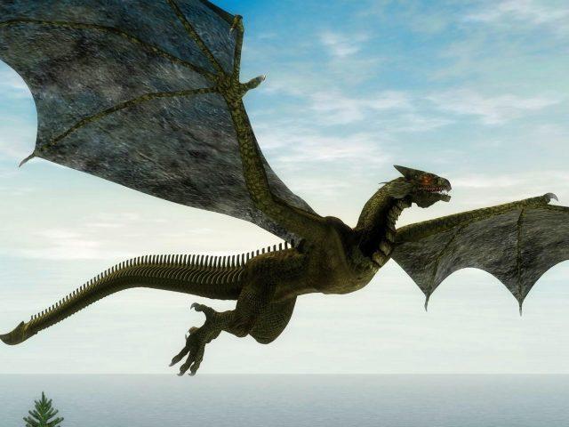 Фантазия Желтый дракон летит над водоемом мечтательно