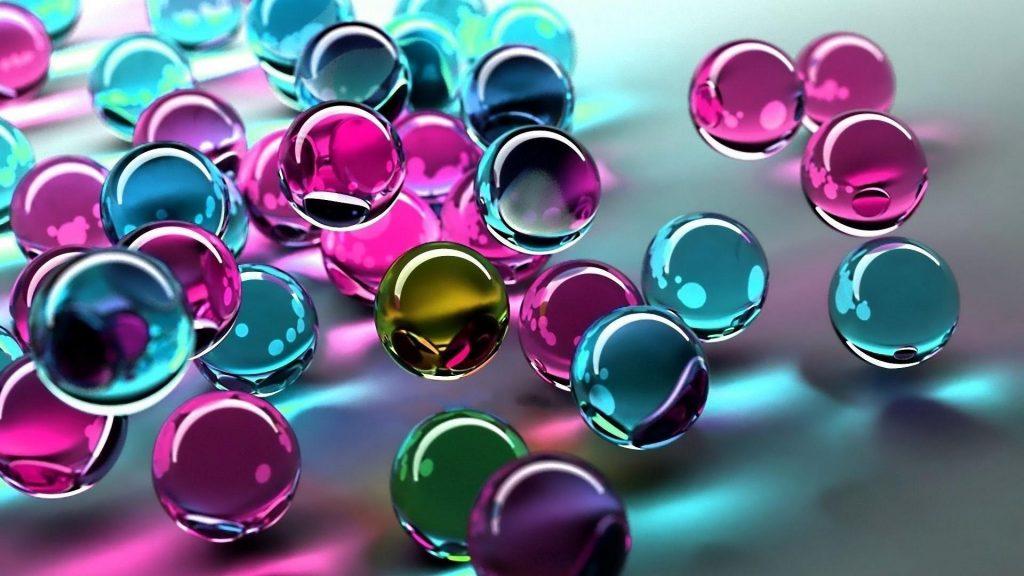 Синий розовый фиолетовый зеленый стеклянные шары абстрактные обои скачать