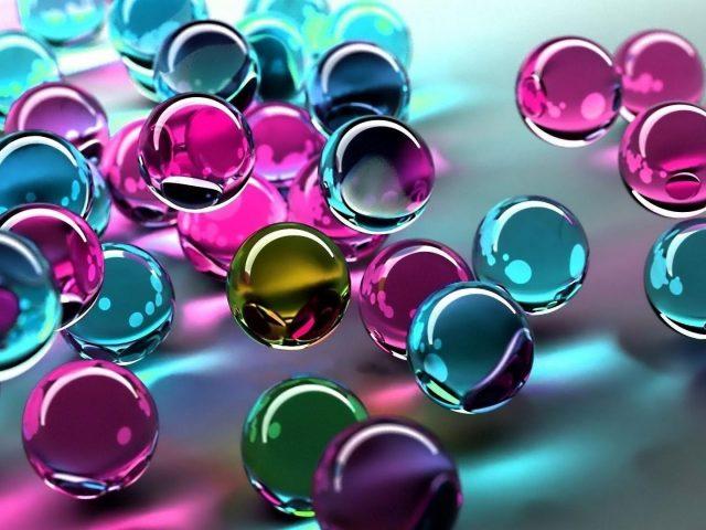 Синий розовый фиолетовый зеленый стеклянные шары абстрактные