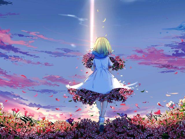 Весна аниме девушка