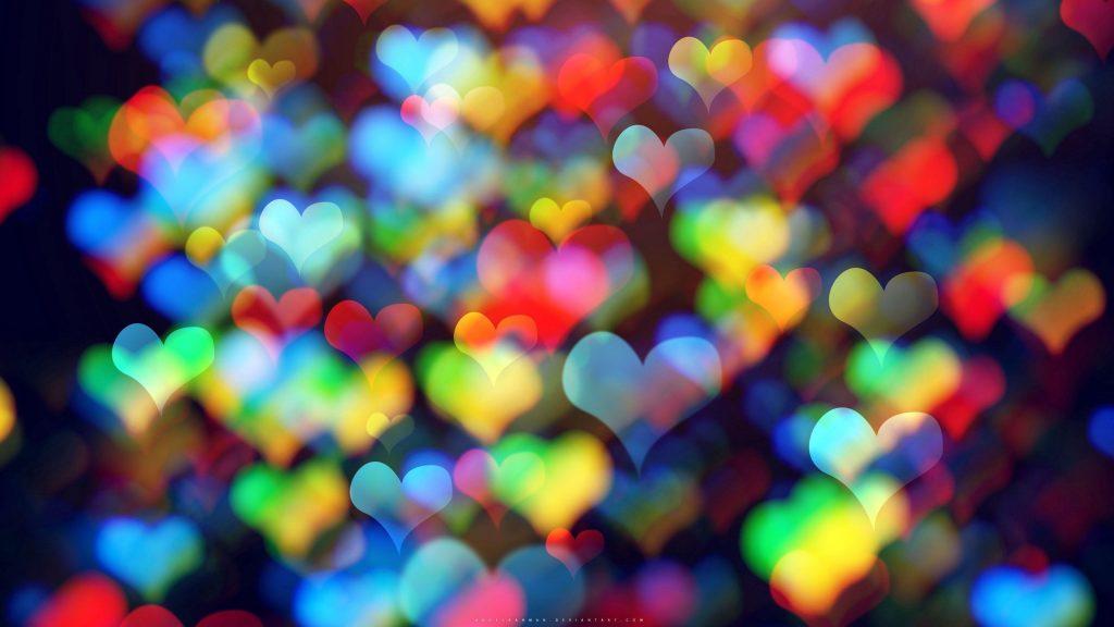 Сердца красочные боке абстрактные обои скачать
