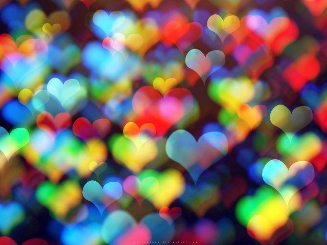 Сердца красочные боке абстрактные