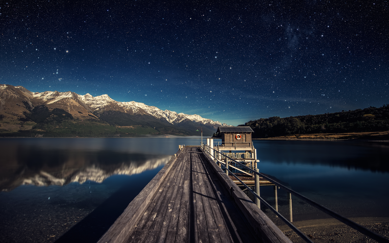 Бесчисленные звездное озеро ночевки. обои скачать