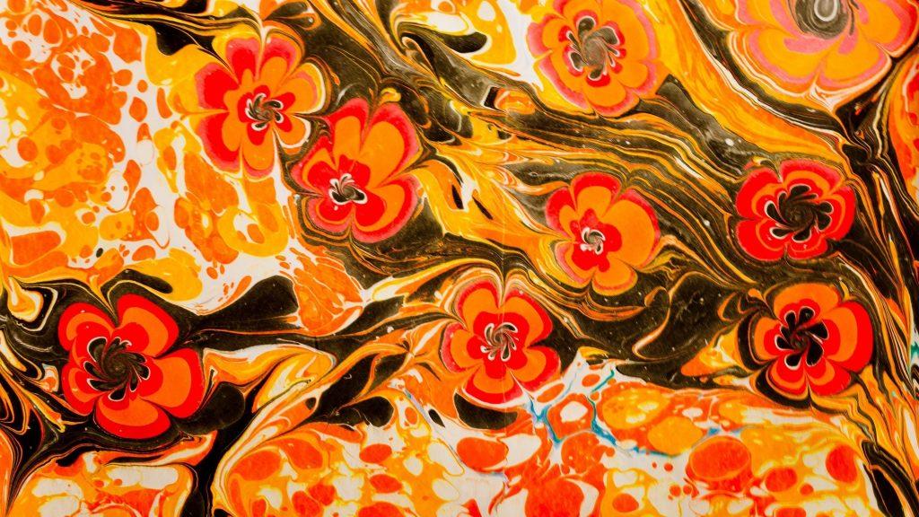 Желтый красный черный белый цветок краска жидкий узор абстрактный обои скачать